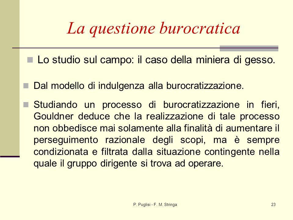 P. Puglisi - F. M. Stringa23 La questione burocratica Lo studio sul campo: il caso della miniera di gesso. Dal modello di indulgenza alla burocratizza