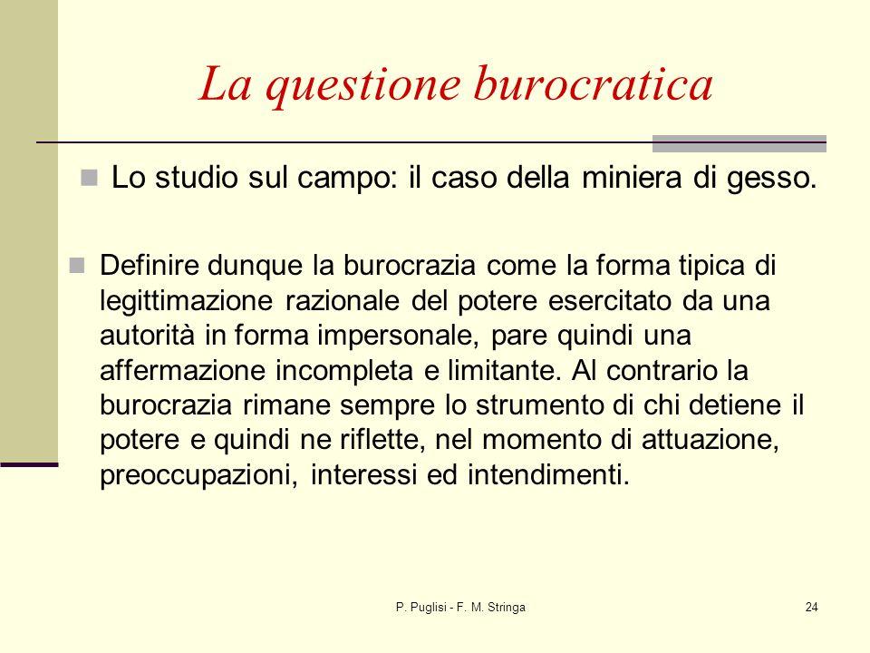 P. Puglisi - F. M. Stringa24 La questione burocratica Lo studio sul campo: il caso della miniera di gesso. Definire dunque la burocrazia come la forma