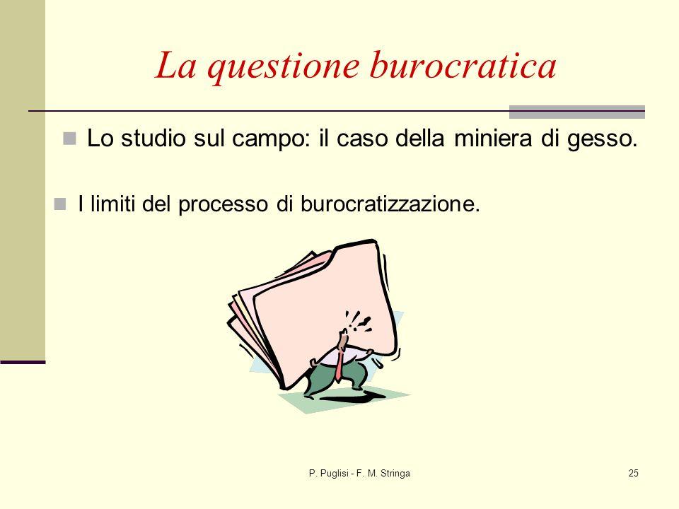 P. Puglisi - F. M. Stringa25 La questione burocratica Lo studio sul campo: il caso della miniera di gesso. I limiti del processo di burocratizzazione.