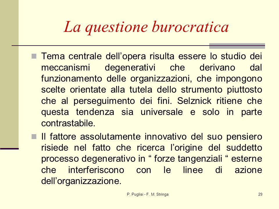 P. Puglisi - F. M. Stringa29 La questione burocratica Tema centrale dellopera risulta essere lo studio dei meccanismi degenerativi che derivano dal fu
