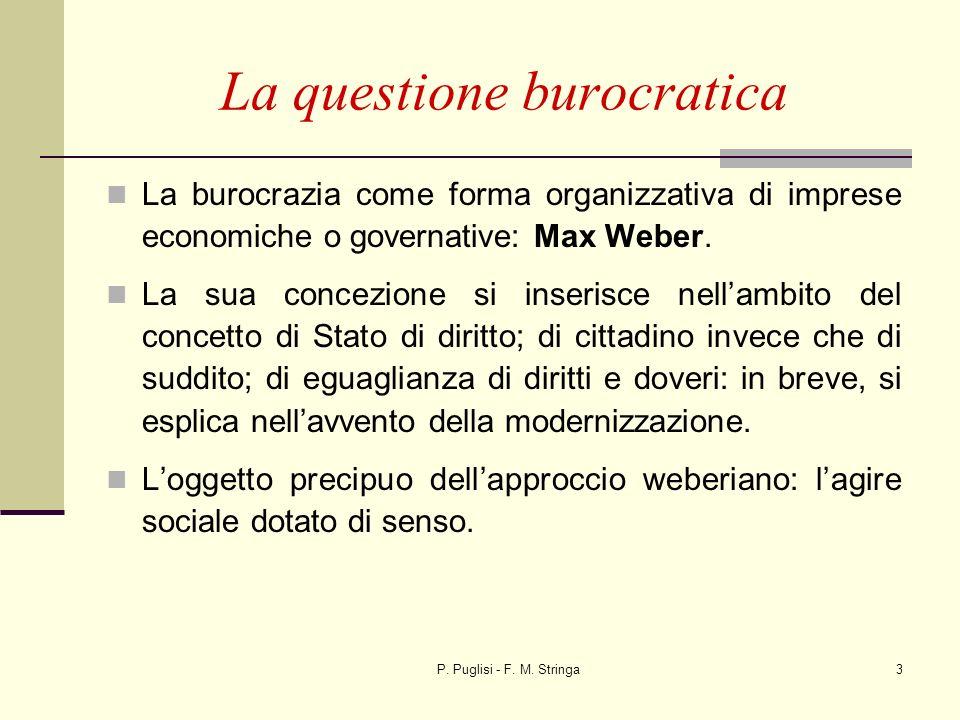 P. Puglisi - F. M. Stringa3 La questione burocratica La burocrazia come forma organizzativa di imprese economiche o governative: Max Weber. La sua con