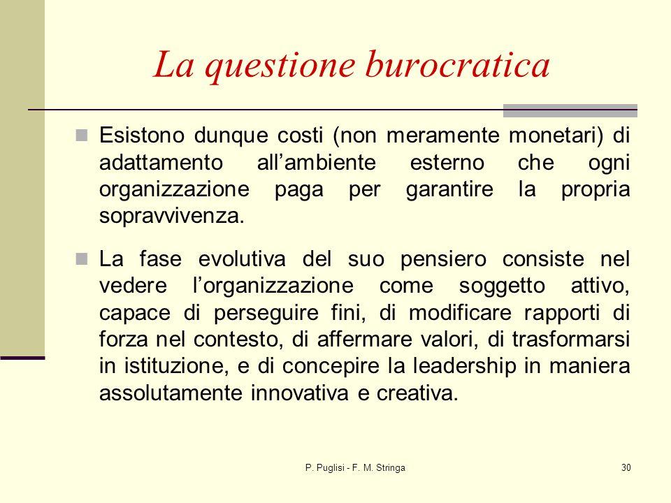 P. Puglisi - F. M. Stringa30 La questione burocratica Esistono dunque costi (non meramente monetari) di adattamento allambiente esterno che ogni organ