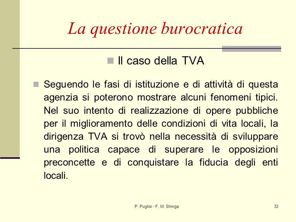 P. Puglisi - F. M. Stringa32 La questione burocratica Il caso della TVA Seguendo le fasi di istituzione e di attività di questa agenzia si poterono mo