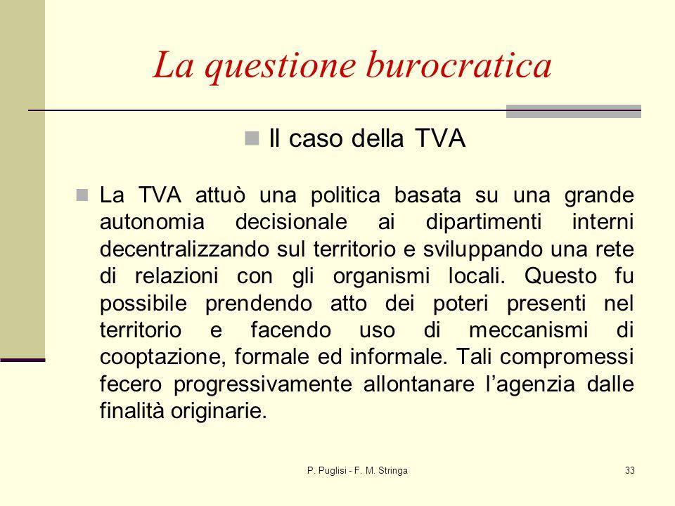 P. Puglisi - F. M. Stringa33 La questione burocratica Il caso della TVA La TVA attuò una politica basata su una grande autonomia decisionale ai dipart