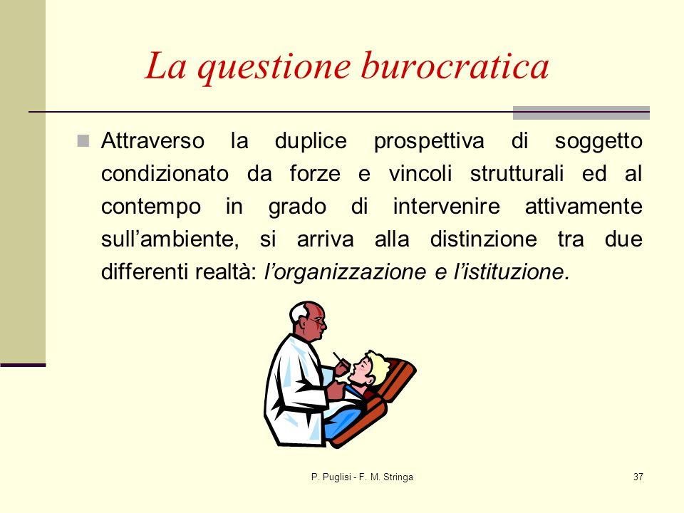 P. Puglisi - F. M. Stringa37 La questione burocratica Attraverso la duplice prospettiva di soggetto condizionato da forze e vincoli strutturali ed al