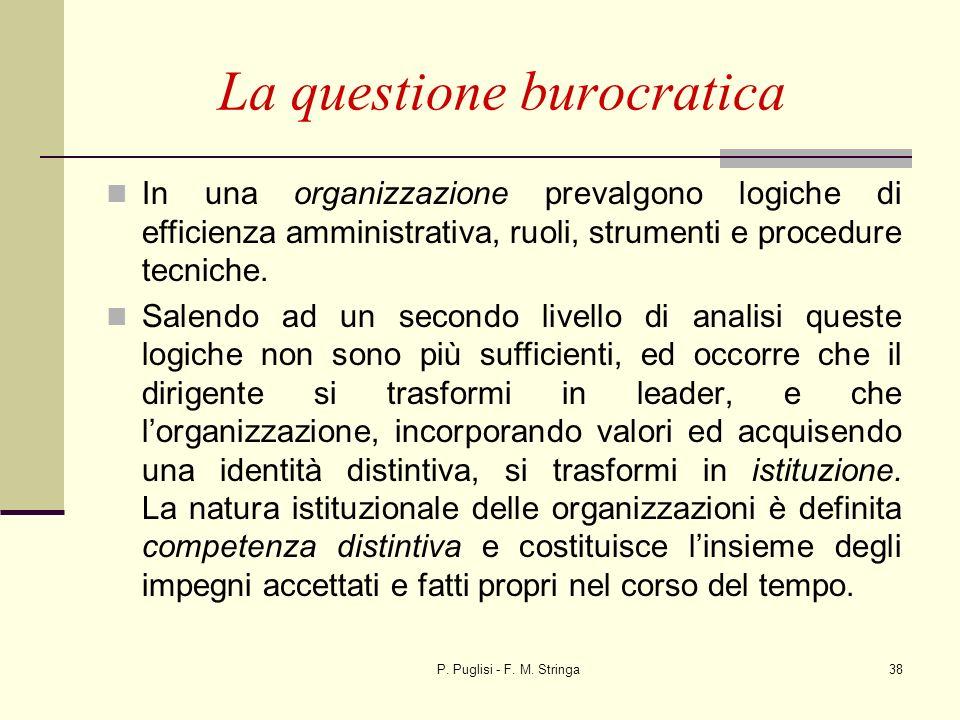 P. Puglisi - F. M. Stringa38 La questione burocratica In una organizzazione prevalgono logiche di efficienza amministrativa, ruoli, strumenti e proced