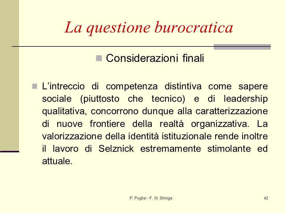 P. Puglisi - F. M. Stringa42 La questione burocratica Considerazioni finali Lintreccio di competenza distintiva come sapere sociale (piuttosto che tec