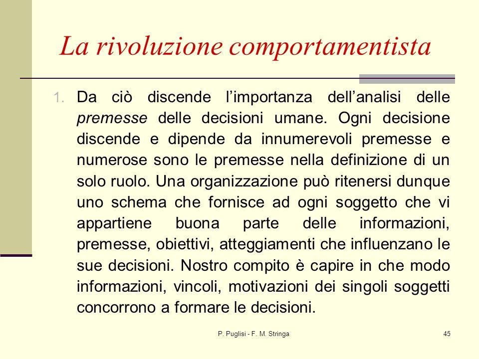 P. Puglisi - F. M. Stringa45 La rivoluzione comportamentista 1. Da ciò discende limportanza dellanalisi delle premesse delle decisioni umane. Ogni dec
