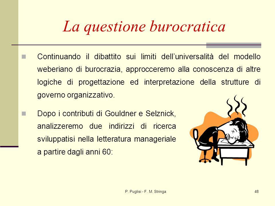 P. Puglisi - F. M. Stringa48 La questione burocratica Continuando il dibattito sui limiti delluniversalità del modello weberiano di burocrazia, approc