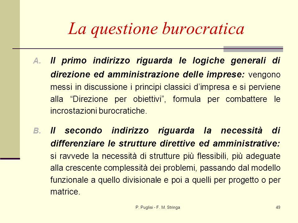 P. Puglisi - F. M. Stringa49 La questione burocratica A. Il primo indirizzo riguarda le logiche generali di direzione ed amministrazione delle imprese