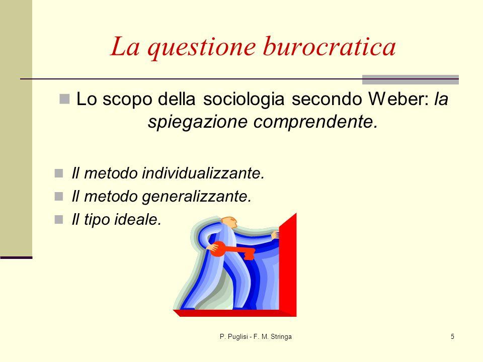 P. Puglisi - F. M. Stringa5 La questione burocratica Lo scopo della sociologia secondo Weber: la spiegazione comprendente. Il metodo individualizzante
