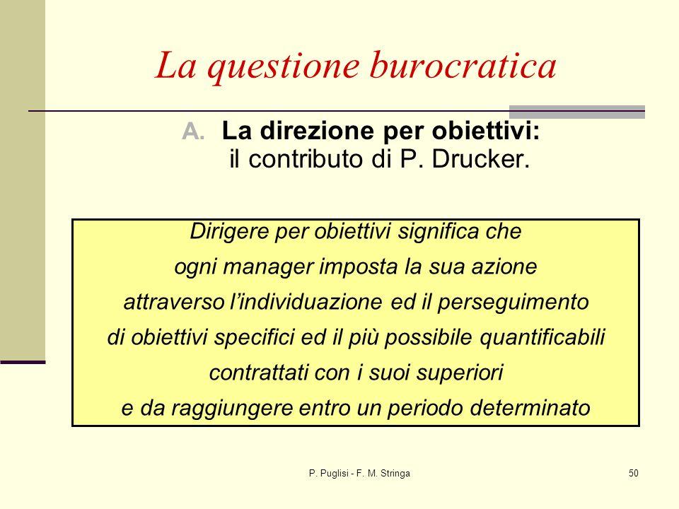 P. Puglisi - F. M. Stringa50 La questione burocratica A. La direzione per obiettivi: il contributo di P. Drucker. Dirigere per obiettivi significa che