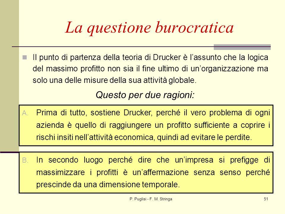 P. Puglisi - F. M. Stringa51 La questione burocratica Il punto di partenza della teoria di Drucker è lassunto che la logica del massimo profitto non s