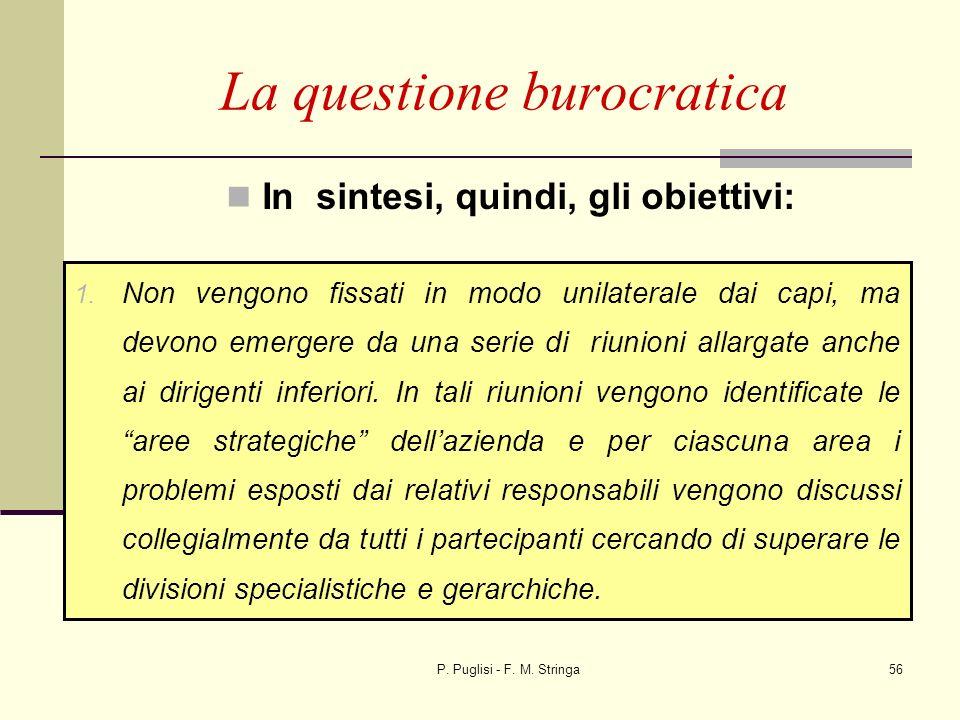 P. Puglisi - F. M. Stringa56 In sintesi, quindi, gli obiettivi: La questione burocratica 1. Non vengono fissati in modo unilaterale dai capi, ma devon