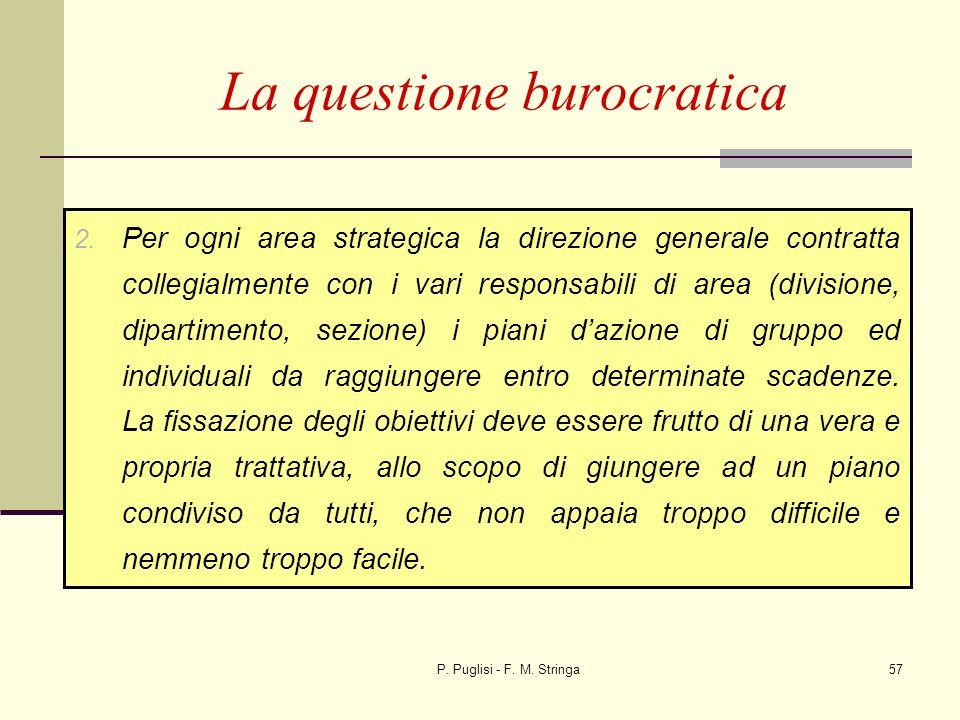 P. Puglisi - F. M. Stringa57 La questione burocratica 2. Per ogni area strategica la direzione generale contratta collegialmente con i vari responsabi