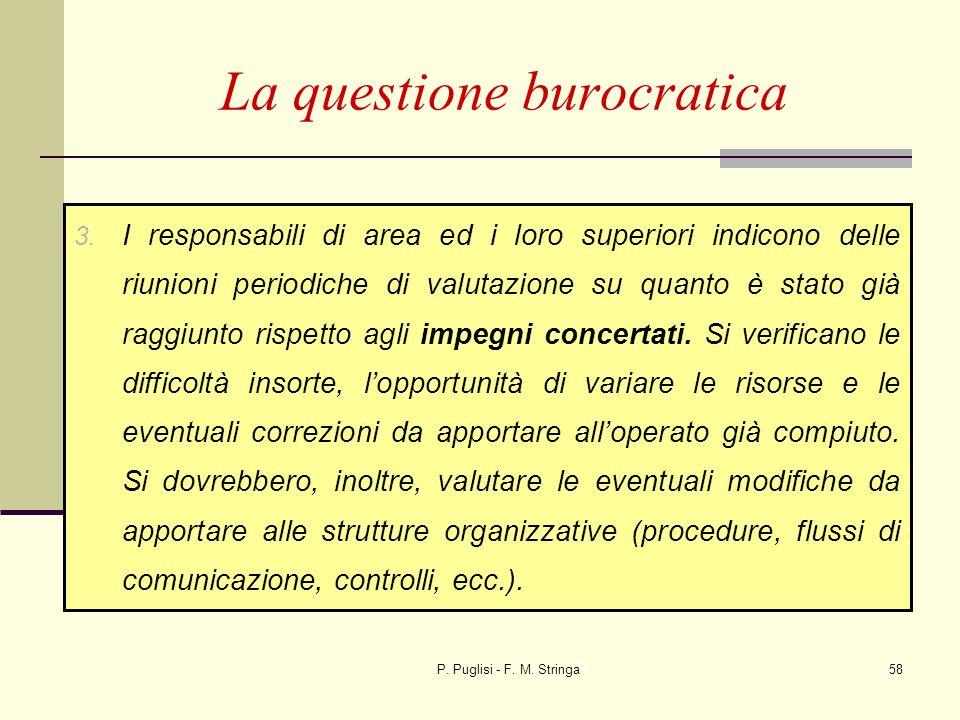 P. Puglisi - F. M. Stringa58 La questione burocratica 3. I responsabili di area ed i loro superiori indicono delle riunioni periodiche di valutazione