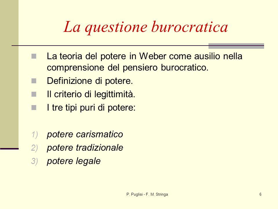 P. Puglisi - F. M. Stringa6 La questione burocratica La teoria del potere in Weber come ausilio nella comprensione del pensiero burocratico. Definizio