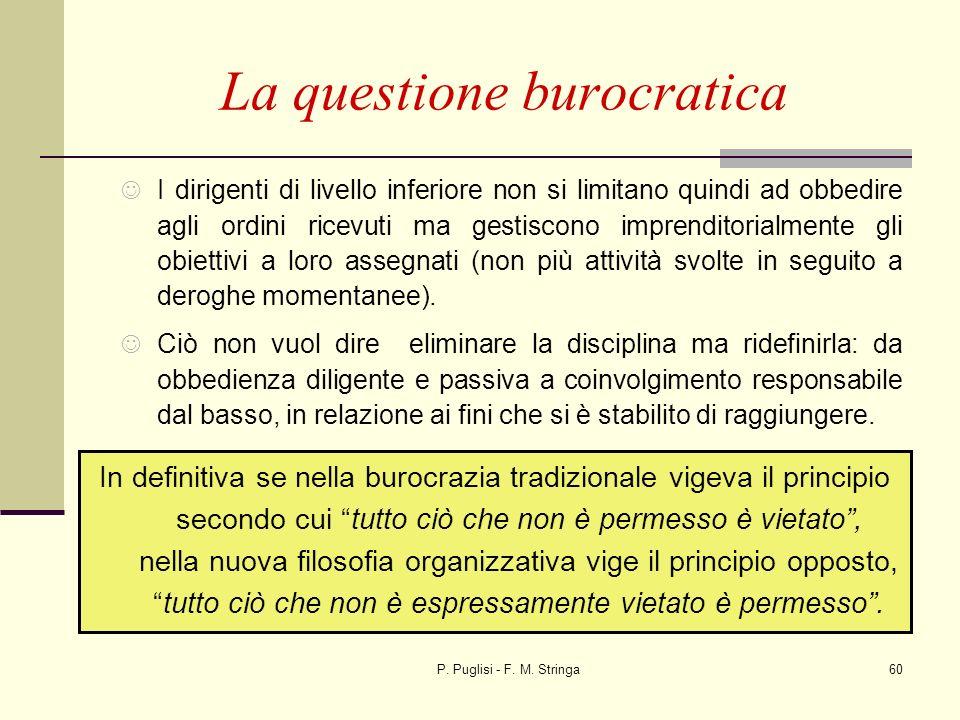 P. Puglisi - F. M. Stringa60 I dirigenti di livello inferiore non si limitano quindi ad obbedire agli ordini ricevuti ma gestiscono imprenditorialment