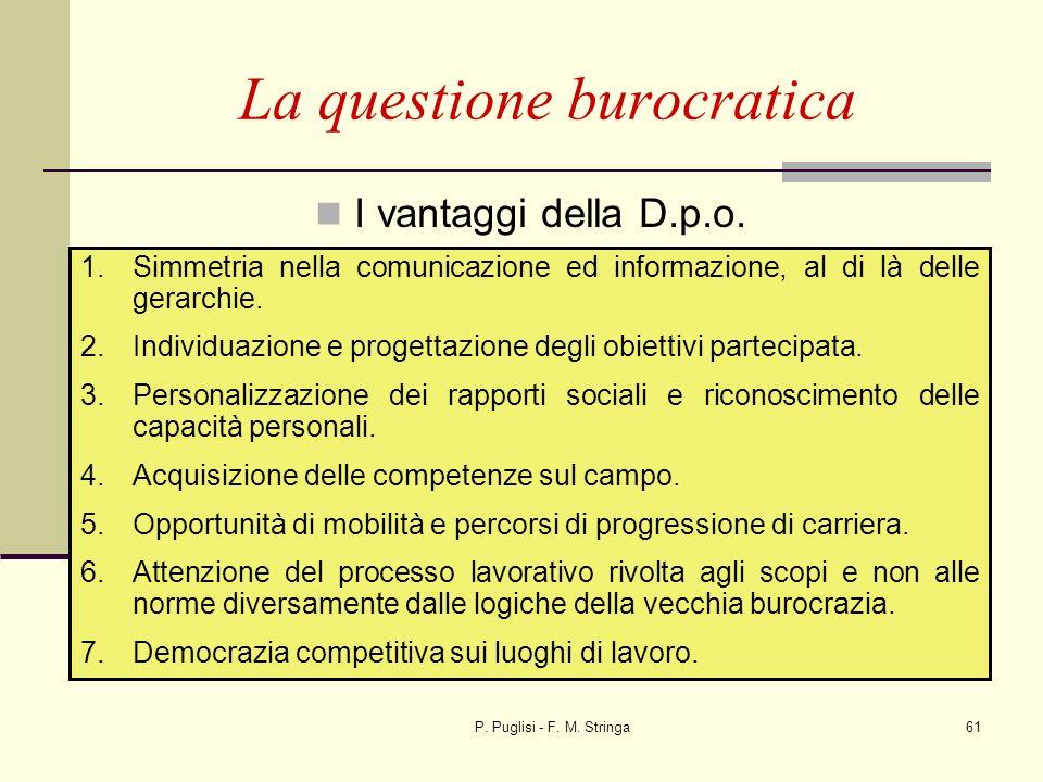 P. Puglisi - F. M. Stringa61 I vantaggi della D.p.o. La questione burocratica 1.Simmetria nella comunicazione ed informazione, al di là delle gerarchi