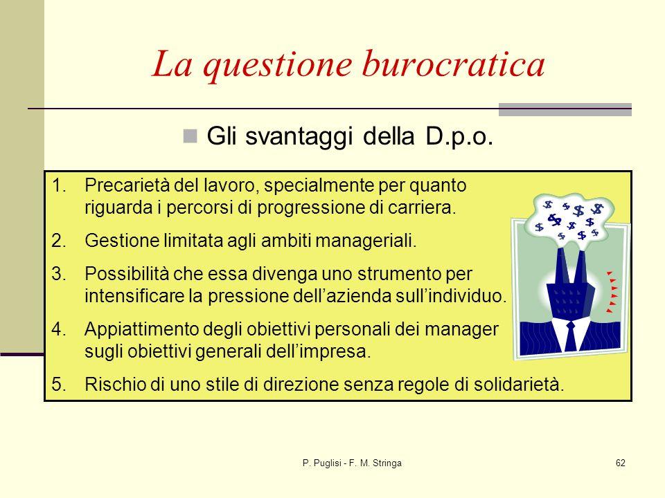 P. Puglisi - F. M. Stringa62 La questione burocratica Gli svantaggi della D.p.o. 1.Precarietà del lavoro, specialmente per quanto riguarda i percorsi