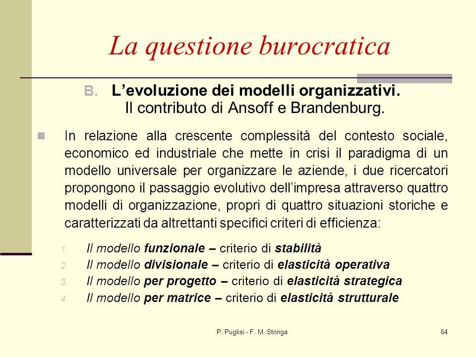 P. Puglisi - F. M. Stringa64 B. Levoluzione dei modelli organizzativi. Il contributo di Ansoff e Brandenburg. In relazione alla crescente complessità