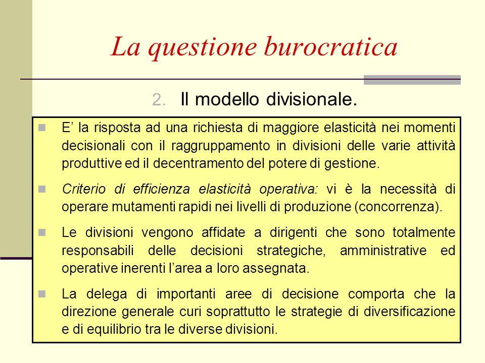 P. Puglisi - F. M. Stringa66 2. Il modello divisionale. La questione burocratica E la risposta ad una richiesta di maggiore elasticità nei momenti dec