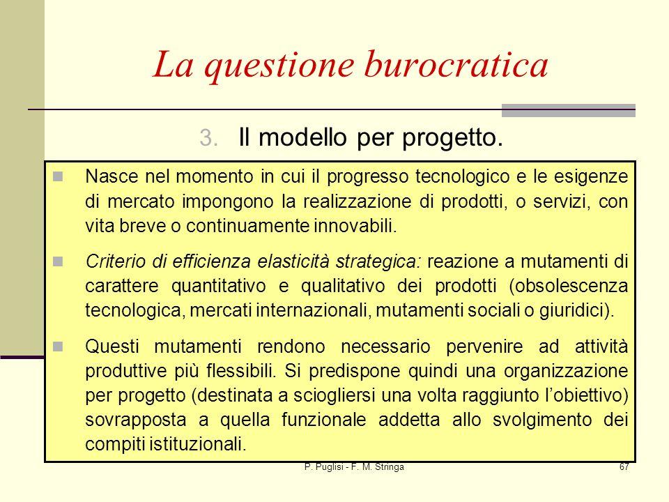 P. Puglisi - F. M. Stringa67 3. Il modello per progetto. La questione burocratica Nasce nel momento in cui il progresso tecnologico e le esigenze di m