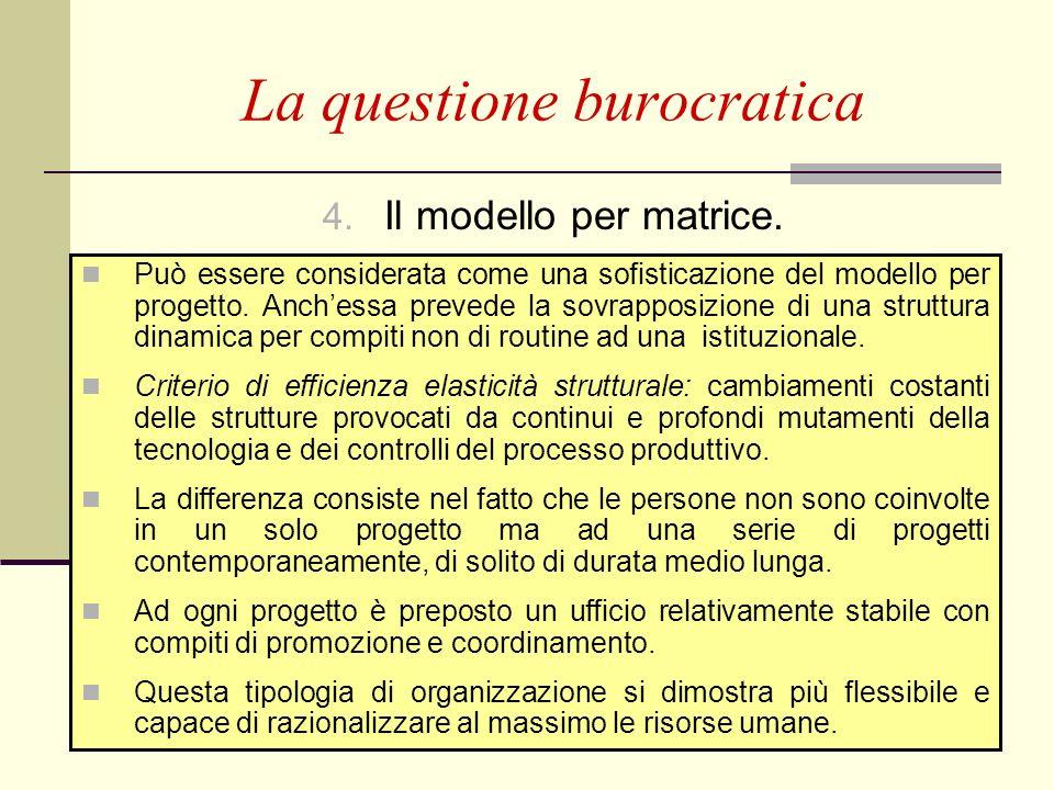 P. Puglisi - F. M. Stringa69 4. Il modello per matrice. La questione burocratica Può essere considerata come una sofisticazione del modello per proget