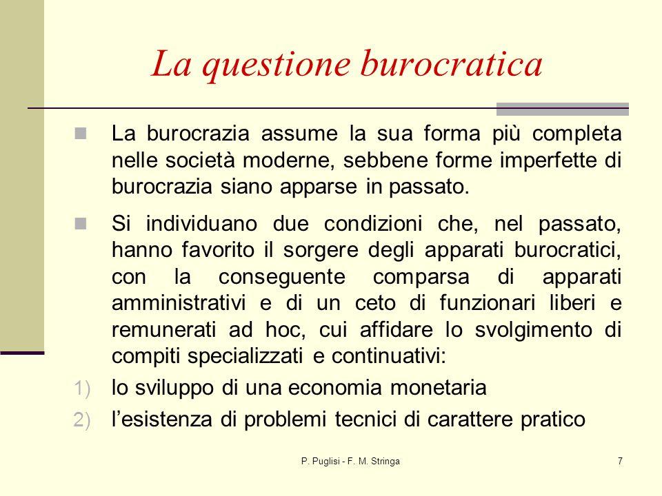 P. Puglisi - F. M. Stringa7 La questione burocratica La burocrazia assume la sua forma più completa nelle società moderne, sebbene forme imperfette di