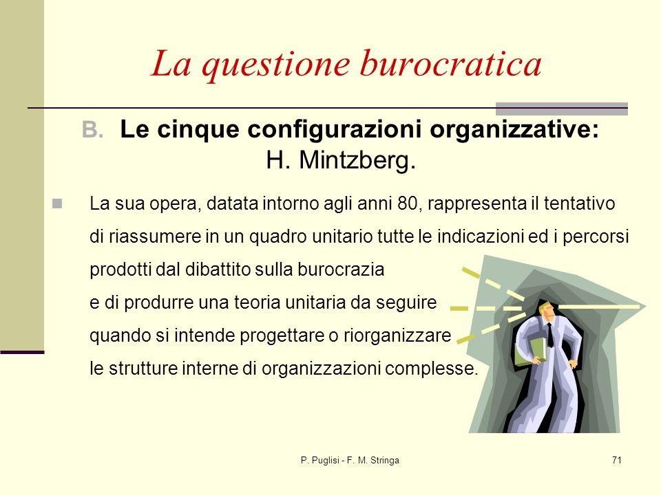 P. Puglisi - F. M. Stringa71 La questione burocratica B. Le cinque configurazioni organizzative: H. Mintzberg. La sua opera, datata intorno agli anni