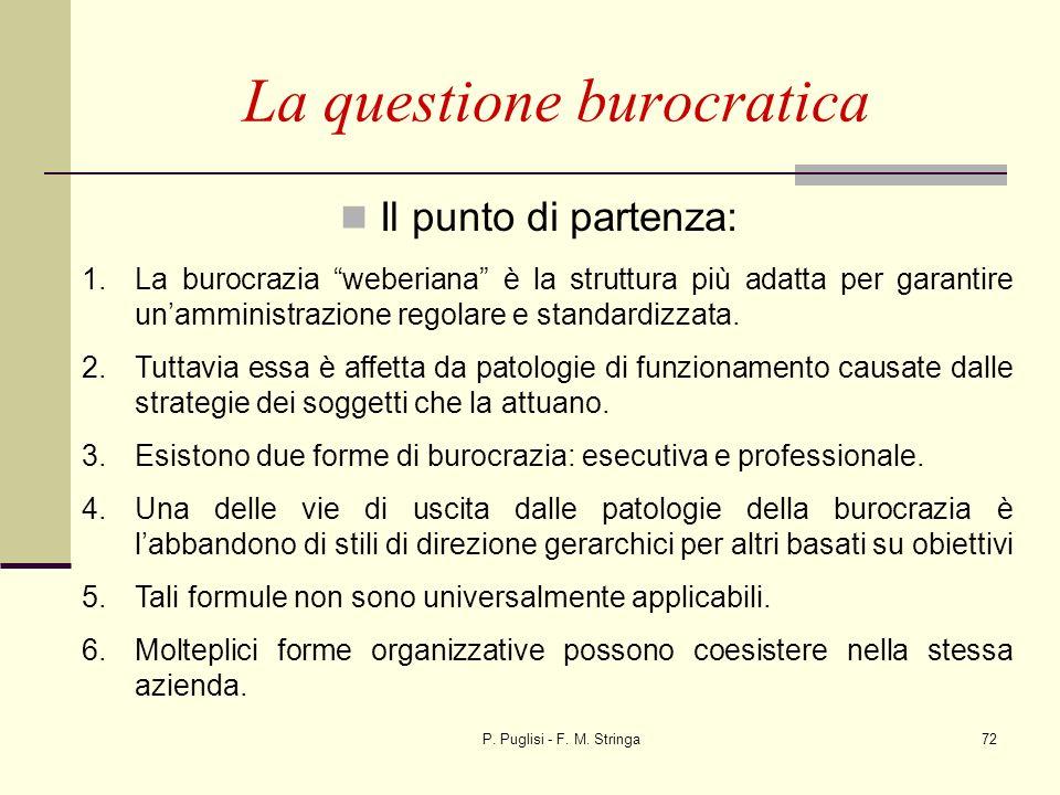 P. Puglisi - F. M. Stringa72 Il punto di partenza: La questione burocratica 1.La burocrazia weberiana è la struttura più adatta per garantire unammini