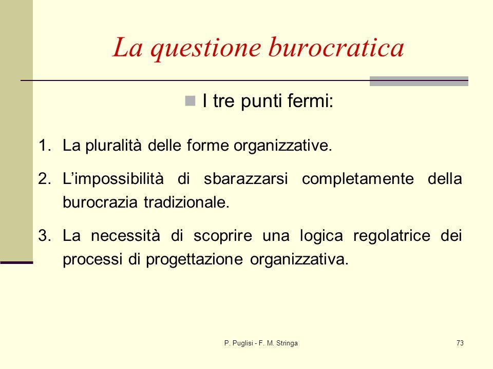 P. Puglisi - F. M. Stringa73 I tre punti fermi: La questione burocratica 1.La pluralità delle forme organizzative. 2.Limpossibilità di sbarazzarsi com