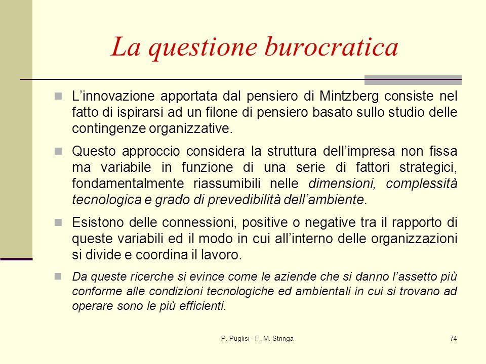P. Puglisi - F. M. Stringa74 Linnovazione apportata dal pensiero di Mintzberg consiste nel fatto di ispirarsi ad un filone di pensiero basato sullo st