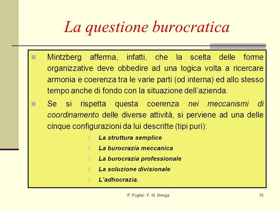 P. Puglisi - F. M. Stringa76 Mintzberg afferma, infatti, che la scelta delle forme organizzative deve obbedire ad una logica volta a ricercare armonia