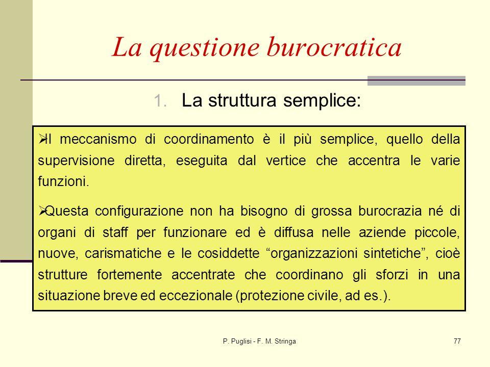 P. Puglisi - F. M. Stringa77 1. La struttura semplice: La questione burocratica Il meccanismo di coordinamento è il più semplice, quello della supervi