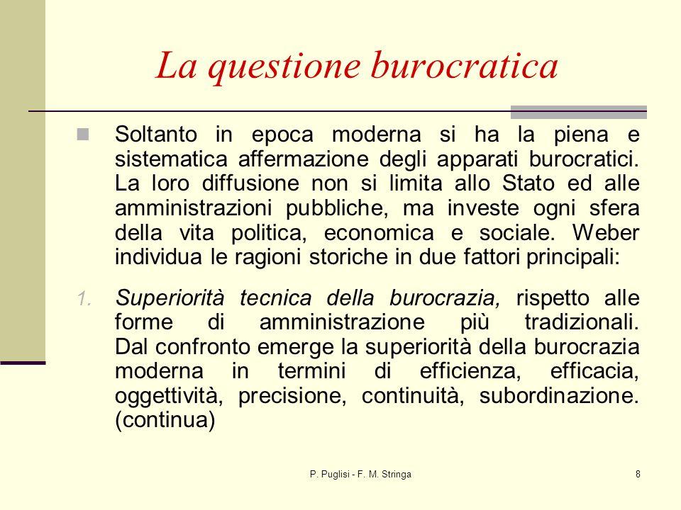 P. Puglisi - F. M. Stringa8 La questione burocratica Soltanto in epoca moderna si ha la piena e sistematica affermazione degli apparati burocratici. L