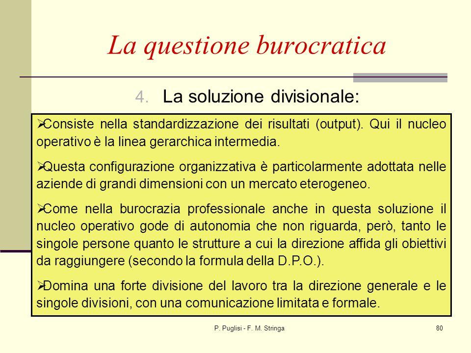 P. Puglisi - F. M. Stringa80 4. La soluzione divisionale: La questione burocratica Consiste nella standardizzazione dei risultati (output). Qui il nuc
