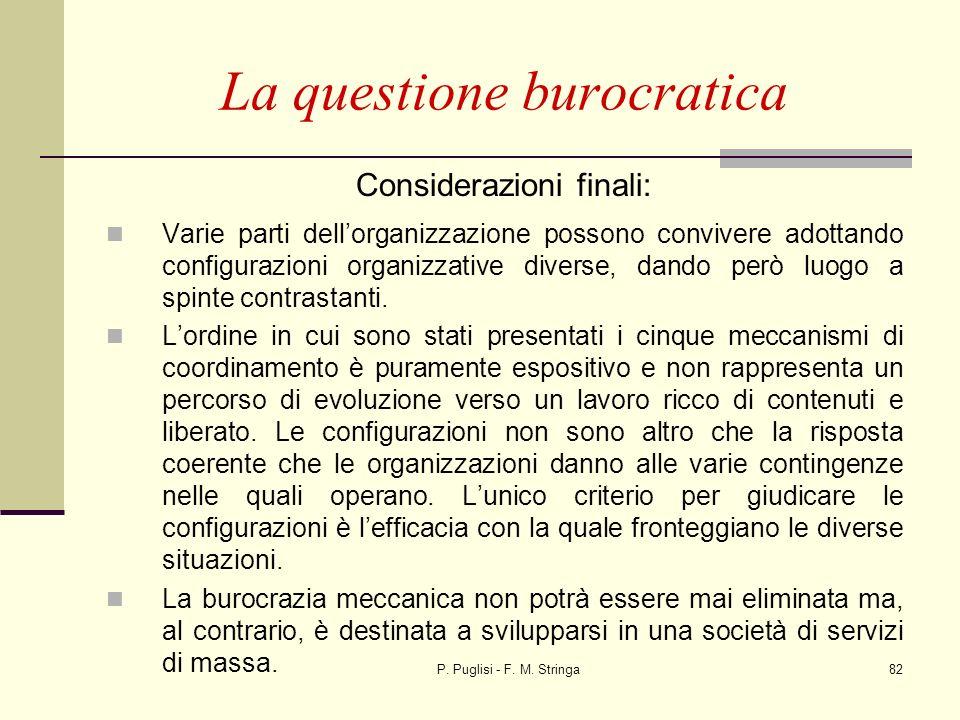 P. Puglisi - F. M. Stringa82 Considerazioni finali: Varie parti dellorganizzazione possono convivere adottando configurazioni organizzative diverse, d