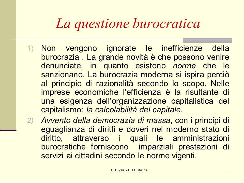 P. Puglisi - F. M. Stringa9 La questione burocratica 1) Non vengono ignorate le inefficienze della burocrazia. La grande novità è che possono venire d