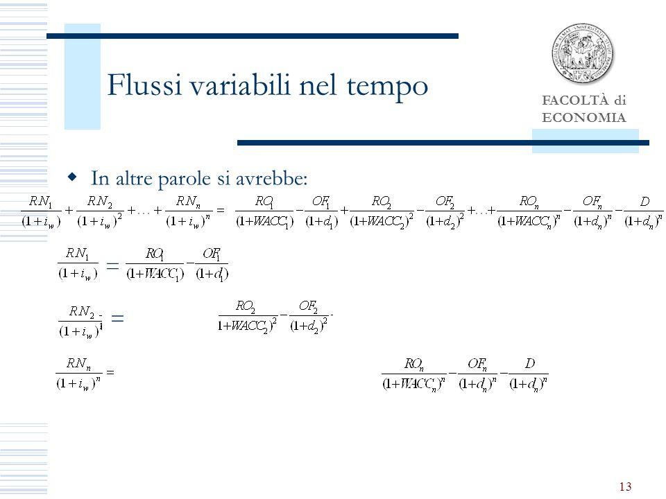 FACOLTÀ di ECONOMIA 13 Flussi variabili nel tempo In altre parole si avrebbe: = =