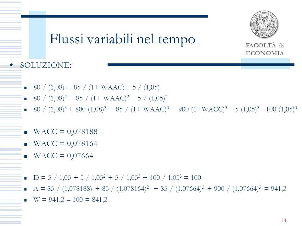 FACOLTÀ di ECONOMIA 14 Flussi variabili nel tempo SOLUZIONE: 80 / (1,08) = 85 / (1+ WAAC) – 5 / (1,05) 80 / (1,08) 2 = 85 / (1+ WAAC) 2 - 5 / (1,05) 2 80 / (1,08) 3 + 800 (1,08) 3 = 85 / (1+ WAAC) 3 + 900 (1+WACC) 3 – 5 (1,05) 3 - 100 (1,05) 3 WACC = 0,078188 WACC = 0,078164 WACC = 0,07664 D = 5 / 1,05 + 5 / 1,05 2 + 5 / 1,05 3 + 100 / 1,05 3 = 100 A = 85 / (1,078188) + 85 / (1,078164) 2 + 85 / (1,07664) 3 + 900 / (1,07664) 3 = 941,2 W = 941,2 – 100 = 841,2