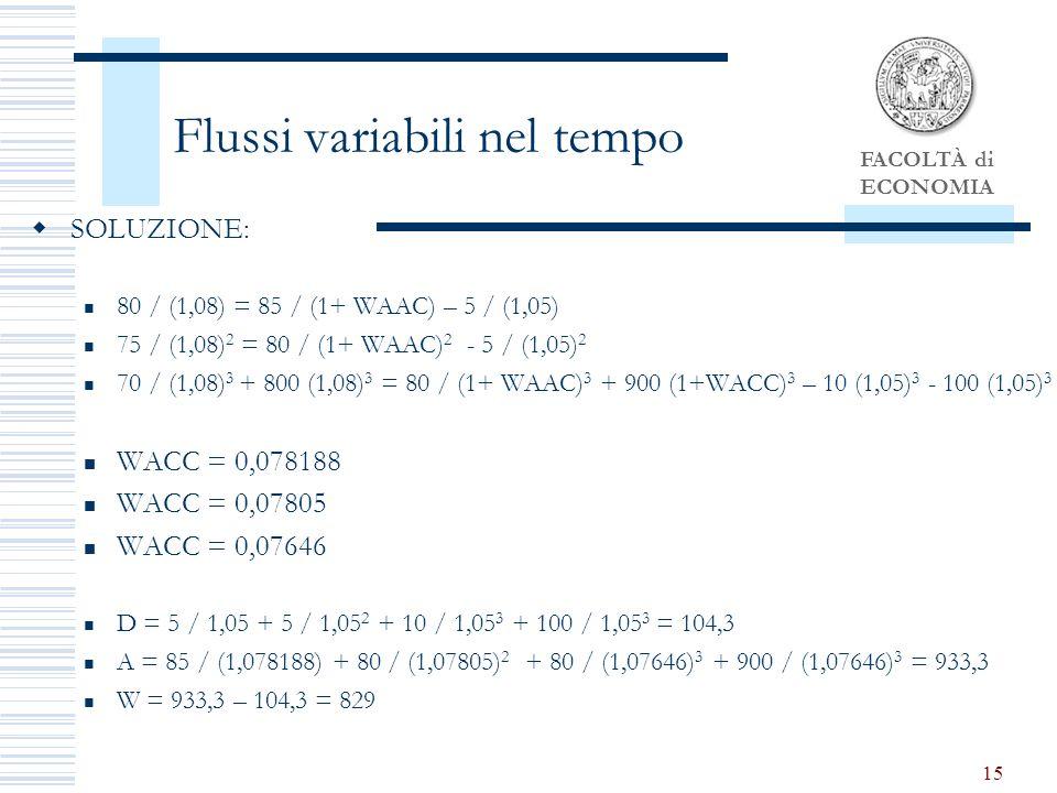 FACOLTÀ di ECONOMIA 15 Flussi variabili nel tempo SOLUZIONE: 80 / (1,08) = 85 / (1+ WAAC) – 5 / (1,05) 75 / (1,08) 2 = 80 / (1+ WAAC) 2 - 5 / (1,05) 2 70 / (1,08) 3 + 800 (1,08) 3 = 80 / (1+ WAAC) 3 + 900 (1+WACC) 3 – 10 (1,05) 3 - 100 (1,05) 3 WACC = 0,078188 WACC = 0,07805 WACC = 0,07646 D = 5 / 1,05 + 5 / 1,05 2 + 10 / 1,05 3 + 100 / 1,05 3 = 104,3 A = 85 / (1,078188) + 80 / (1,07805) 2 + 80 / (1,07646) 3 + 900 / (1,07646) 3 = 933,3 W = 933,3 – 104,3 = 829