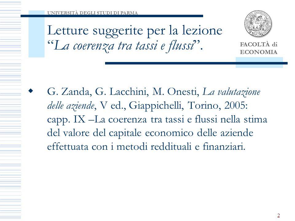 FACOLTÀ di ECONOMIA 2 G.Zanda, G. Lacchini, M.