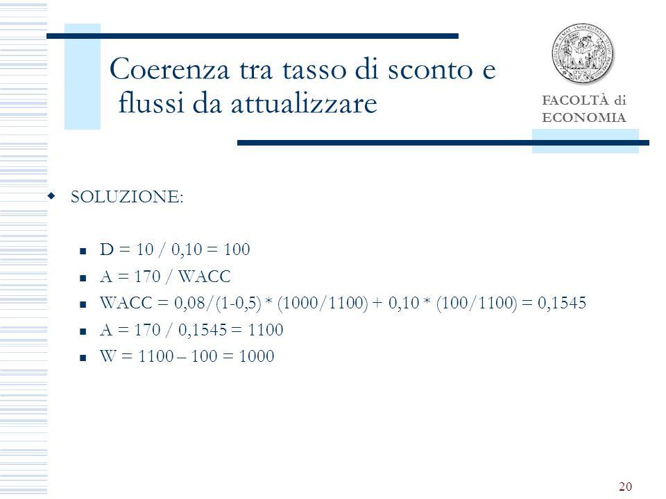 FACOLTÀ di ECONOMIA 20 Coerenza tra tasso di sconto e flussi da attualizzare SOLUZIONE: D = 10 / 0,10 = 100 A = 170 / WACC WACC = 0,08/(1-0,5) * (1000/1100) + 0,10 * (100/1100) = 0,1545 A = 170 / 0,1545 = 1100 W = 1100 – 100 = 1000