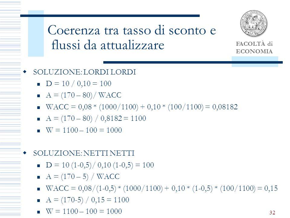 FACOLTÀ di ECONOMIA 32 Coerenza tra tasso di sconto e flussi da attualizzare SOLUZIONE: LORDI LORDI D = 10 / 0,10 = 100 A = (170 – 80)/ WACC WACC = 0,08 * (1000/1100) + 0,10 * (100/1100) = 0,08182 A = (170 – 80) / 0,8182 = 1100 W = 1100 – 100 = 1000 SOLUZIONE: NETTI NETTI D = 10 (1-0,5)/ 0,10 (1-0,5) = 100 A = (170 – 5) / WACC WACC = 0,08/(1-0,5) * (1000/1100) + 0,10 * (1-0,5) * (100/1100) = 0,15 A = (170-5) / 0,15 = 1100 W = 1100 – 100 = 1000