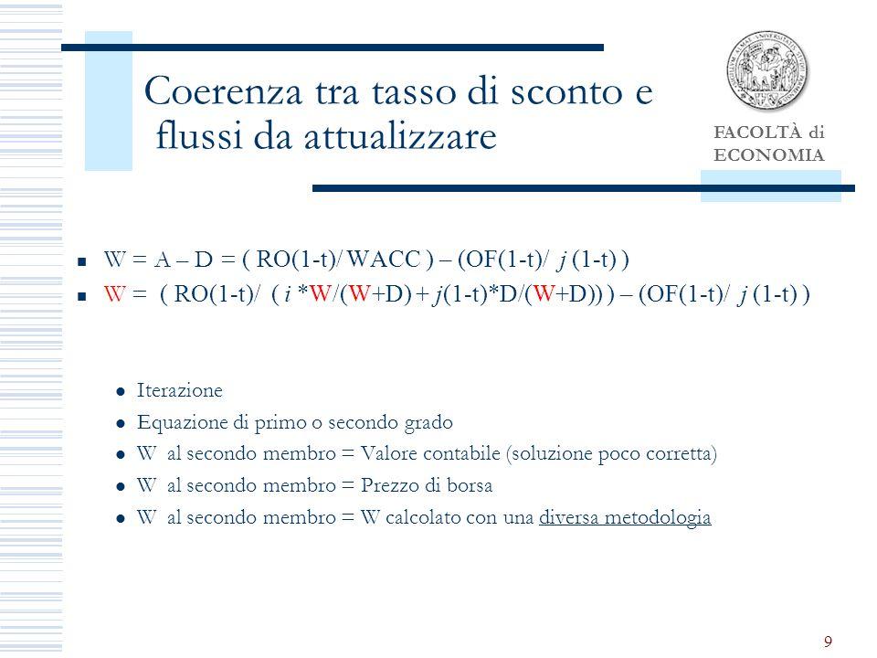 FACOLTÀ di ECONOMIA 9 Coerenza tra tasso di sconto e flussi da attualizzare W = A – D = ( RO(1-t)/ WACC ) – (OF(1-t)/ j (1-t) ) W = ( RO(1-t)/ ( i *W/(W+D) + j(1-t)*D/(W+D)) ) – (OF(1-t)/ j (1-t) ) Iterazione Equazione di primo o secondo grado W al secondo membro = Valore contabile (soluzione poco corretta) W al secondo membro = Prezzo di borsa W al secondo membro = W calcolato con una diversa metodologia