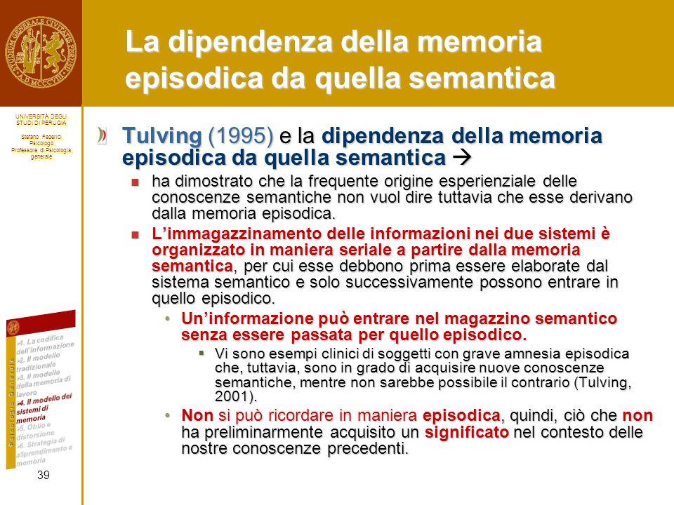 UNIVERSITÀ DEGLI STUDI DI PERUGIA Stefano Federici Psicologo Professore di Psicologia generale UNIVERSITÀ DEGLI STUDI DI PERUGIA Stefano Federici Psicologo Professore di Psicologia generale La dipendenza della memoria episodica da quella semantica Tulving (1995) e la dipendenza della memoria episodica da quella semantica Tulving (1995) e la dipendenza della memoria episodica da quella semantica ha dimostrato che la frequente origine esperienziale delle conoscenze semantiche non vuol dire tuttavia che esse derivano dalla memoria episodica.