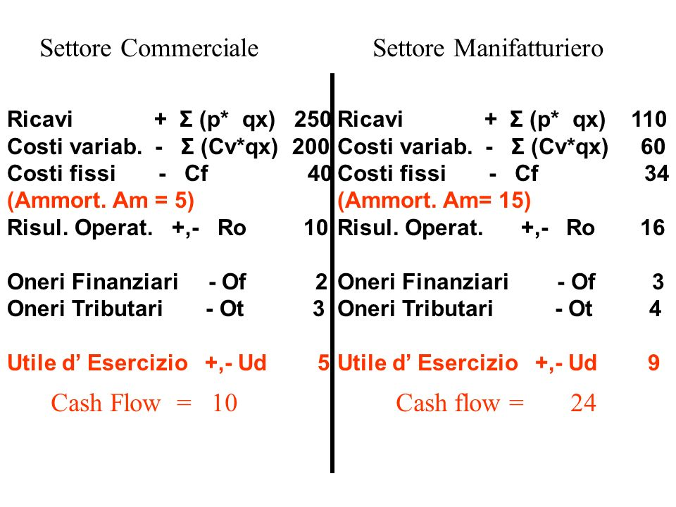 Ricavi + Σ (p* qx) 250 Costi variab. - Σ (Cv*qx) 200 Costi fissi - Cf 40 (Ammort.