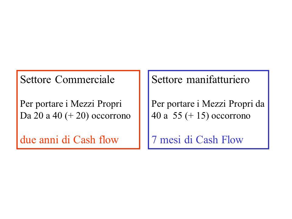Settore Commerciale Per portare i Mezzi Propri Da 20 a 40 (+ 20) occorrono due anni di Cash flow Settore manifatturiero Per portare i Mezzi Propri da 40 a 55 (+ 15) occorrono 7 mesi di Cash Flow