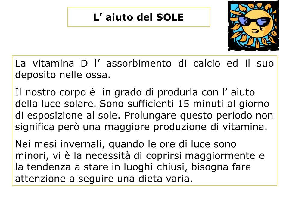 L aiuto del SOLE La vitamina D l assorbimento di calcio ed il suo deposito nelle ossa.